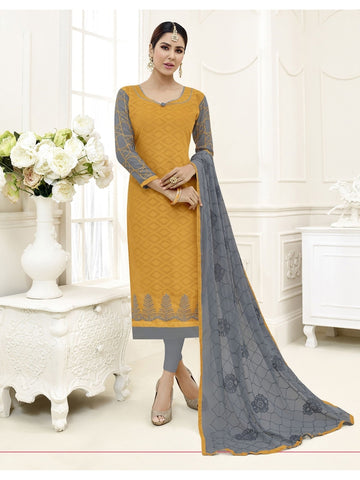 Embroidered Straight Cut Suit in Yellow Color  With Chiffon Dupatta