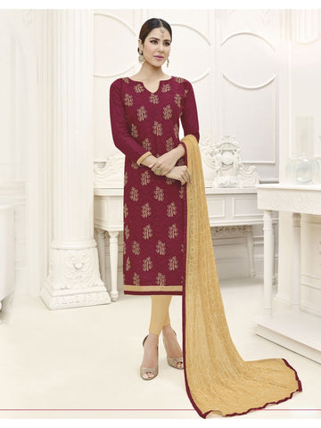 Embroidered Straight Cut Suit in Maroon Color  With Chiffon Dupatta