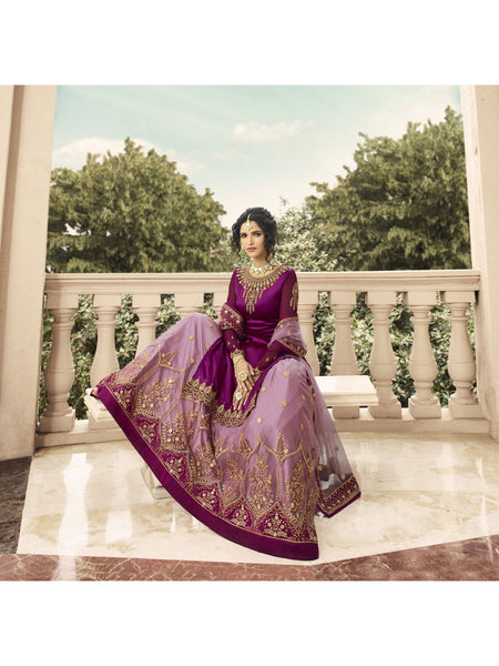 Designer and Beautiful Dark Purple Color Anarkali Suits