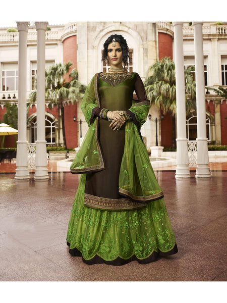 Designer and Beautiful Dark Brown & Olive Green Color Anarkali Suits