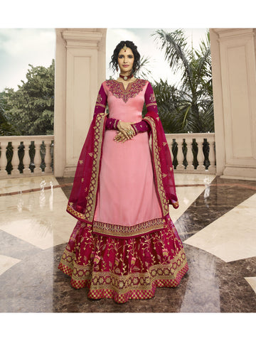 Designer and Beautiful Baby Pink & Rani Color Anarkali Suits