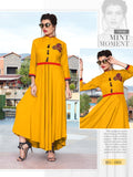 Designer Yellow Color Rayon Embroidered Anarkali Kurti Gown