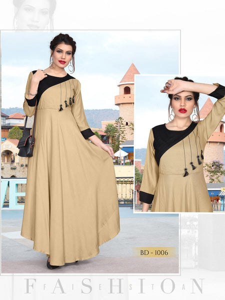 Designer Multi Color Rayon Embroidered Anarkali Kurti Gown