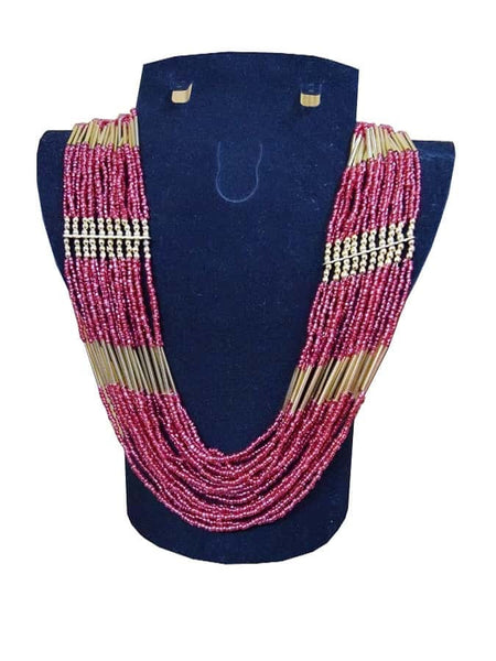 Maroon and Golden Necklace - PurpleTulsi.com