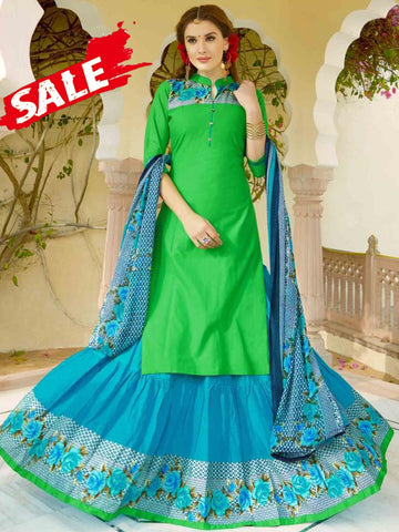 cbe177756072e Kelly Green and Blue Suit with Skirt