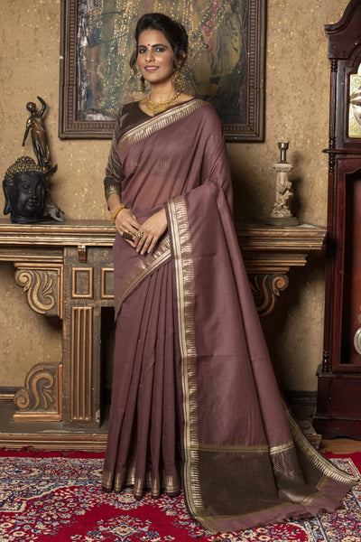Designer Linen Silk Saree With Zari Temple Woven Border