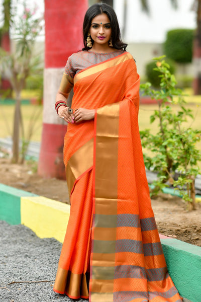 Designer Soft Art Silk Saree With Zari woven Border