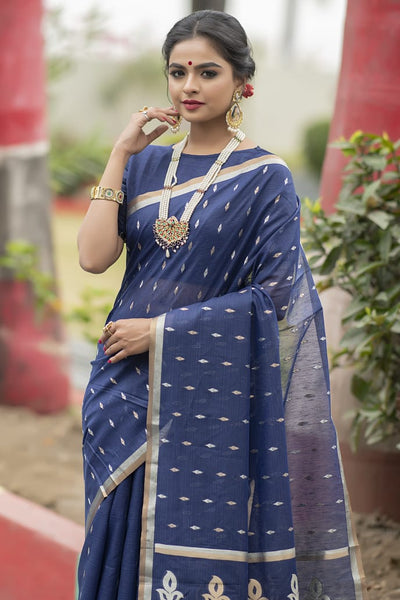 Designer Linen silk Saree with Silver and Gold Zari weaving