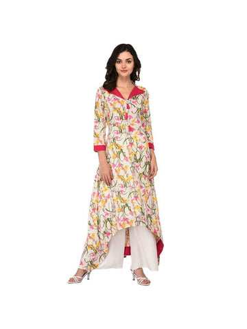 Designer Pink Color Cotton 3/4th Sleeves Kurti