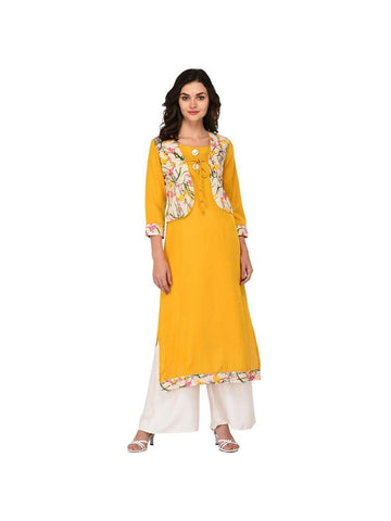 Designer Mustard Color Cotton 3/4th Sleeves Kurti