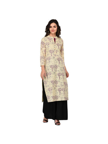 Designer Purple Color Cotton 3/4th Sleeves Kurti