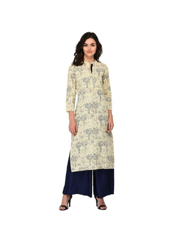 Designer Blue Color Cotton 3/4th Sleeves Kurti
