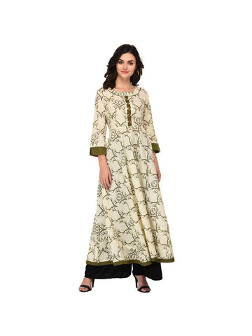 Designer Green Color Cotton 3/4th Sleeves Kurti