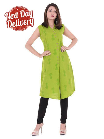 Women's Pista Green Color Cotton Flex Printed Kurti