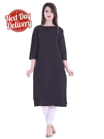 Designer Solid Black Color Rayon Kurti