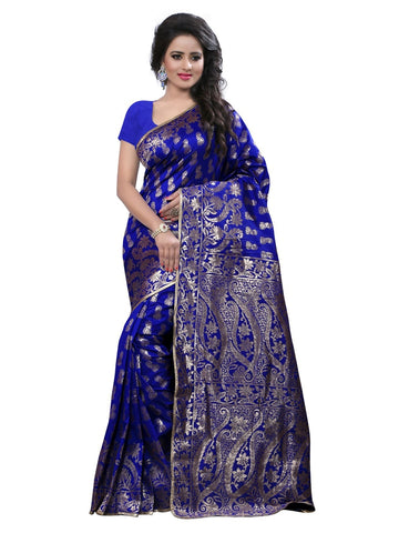 Latest Designer Women Ethnic Blue Color Banarasi Silk Saree