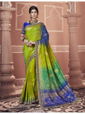 Designer and Beautiful Green & Blue Color Saree