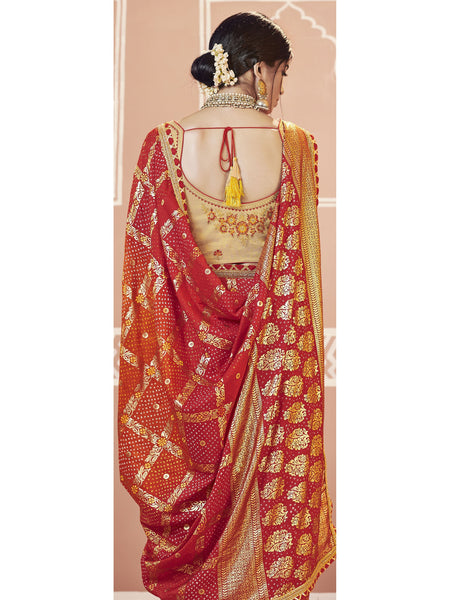 Designer and Beautiful Red & Orange Color Saree