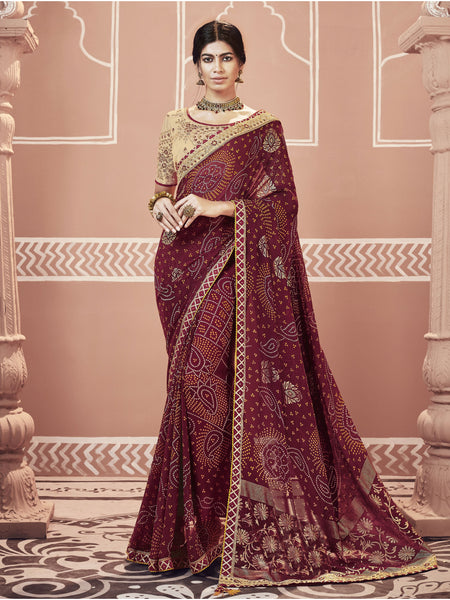 Designer and Beautiful Maroon Color Saree