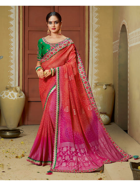 Designer and Beautiful Red & Pink Color Saree