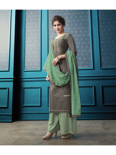 Designer and Beautiful Dark Grey Color Straight Cut Kurti with Palazzo and Dupatta