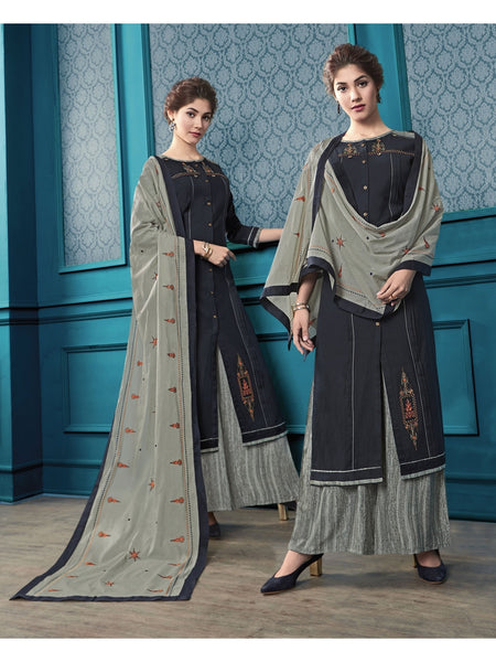 Designer and Beautiful Black Color Straight Cut Kurti with Palazzo and Dupatta
