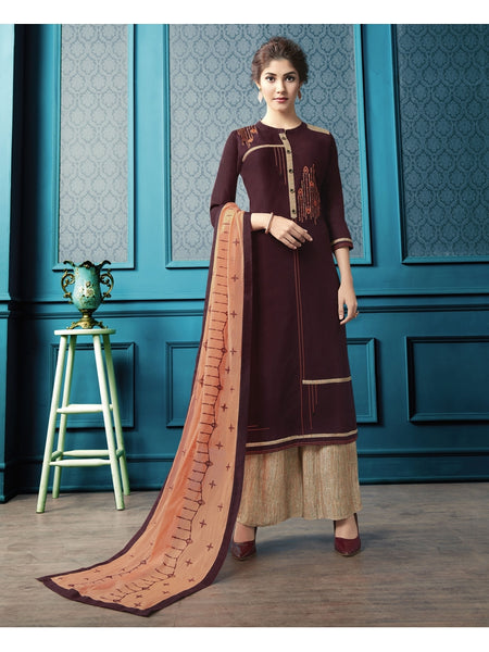 Designer and Beautiful Maroon Color Straight Cut Kurti with Palazzo and Dupatta