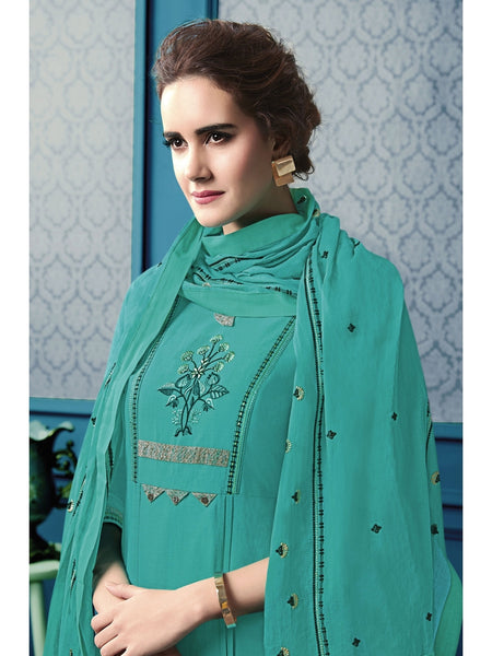 Designer and Beautiful Green Color Straight Cut Kurti with Palazzo and Dupatta