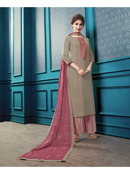 Designer and Beautiful Dark Cream Color Straight Cut Kurti with Palazzo and Dupatta