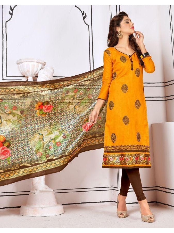 2d9117083d Product Detail. Elegant Orange Color Embroidered Straight Cut Suit with  Digital Printed Dupatta