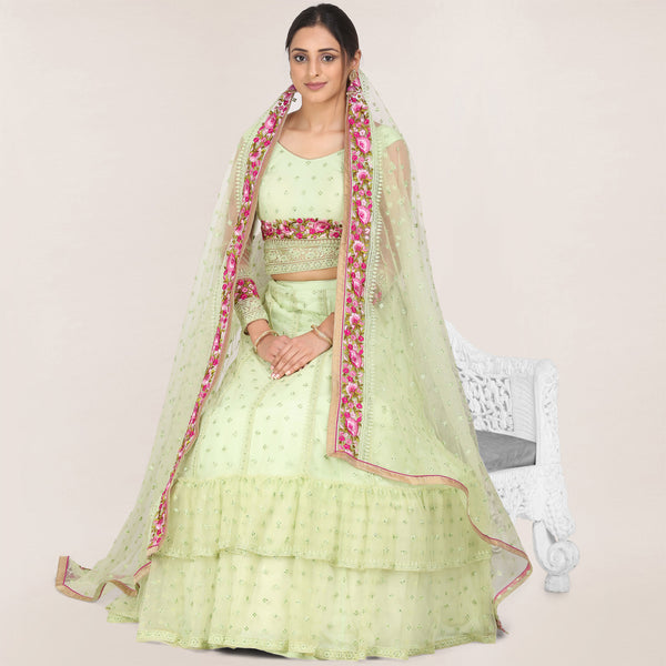 Light Green Color Net Lehenga with Choli