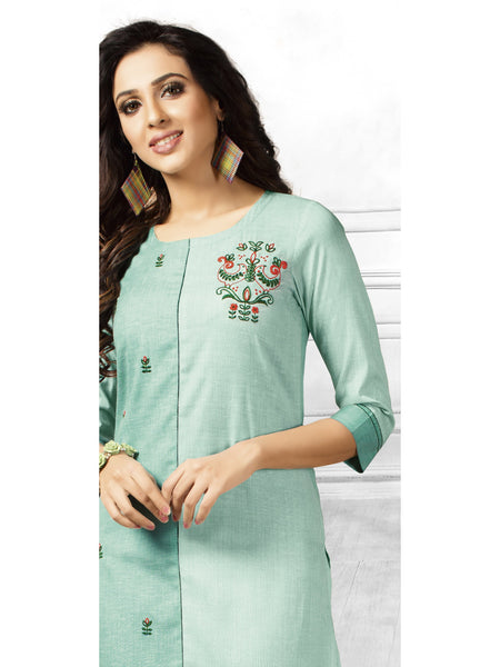 Designer and Beautiful Light Green Color Straight Cut Kurti