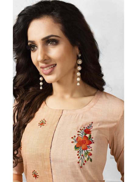 Designer and Beautiful Light Brown Color Straight Cut Kurti
