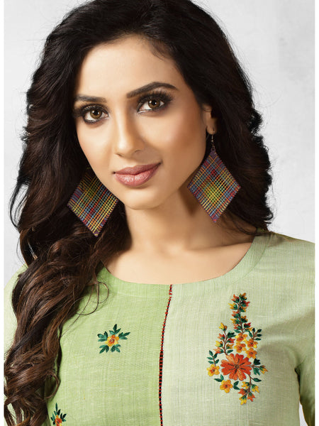 Designer and Beautiful Light Parrot Color Straight Cut Kurti
