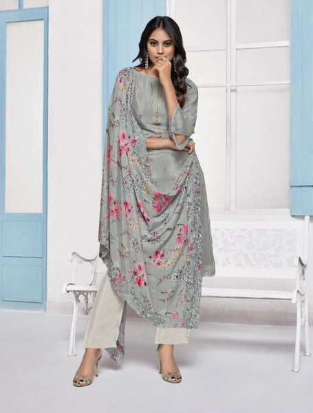 Grey Chinnon Digital Printed Straight Cut Suit
