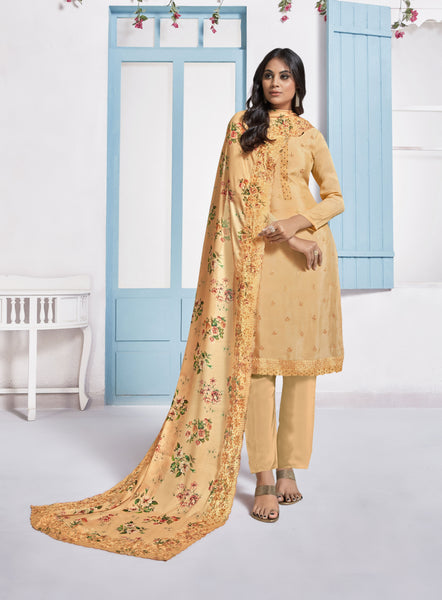 Light Orange Chinnon Digital Printed Straight Cut Suit