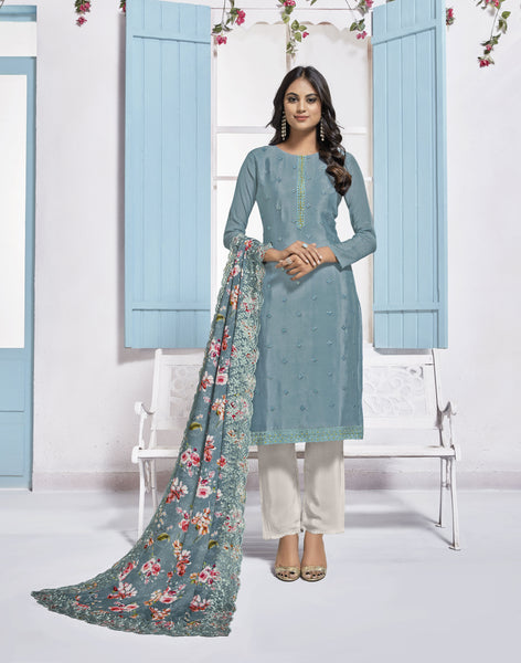 Greyish Blue Chinon Digital Printed Straight Cut Suit
