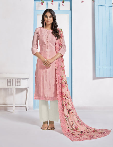 Peach Chinon Digital Printed Straight Cut Suit