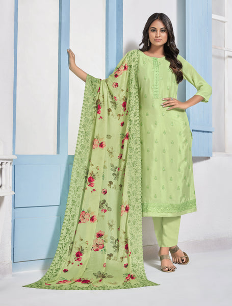 Light Parrot Green Chinon Digital Printed Straight Cut Suit