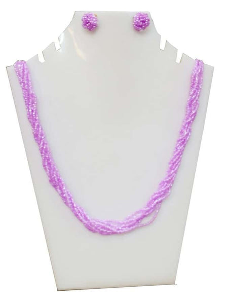 Baby Pink Necklace and Earrings Set - PurpleTulsi.com