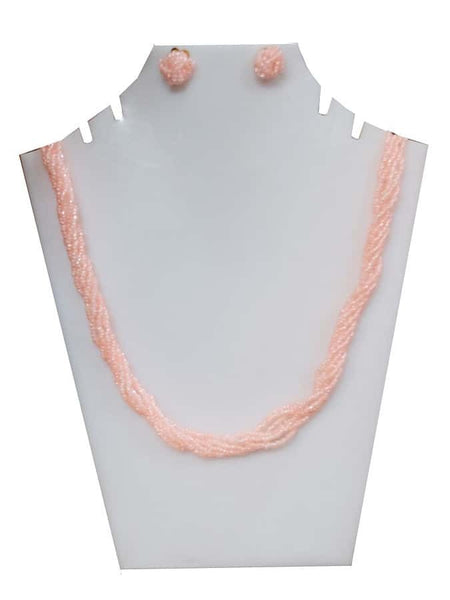 Peach Necklace and Earrings Set - PurpleTulsi.com