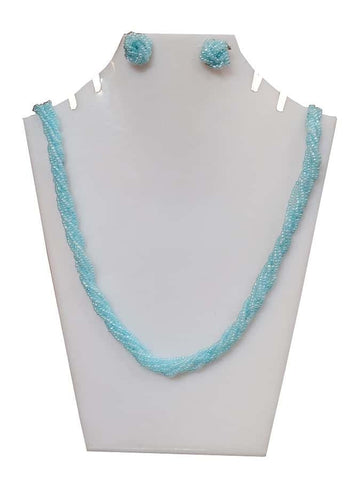 Blue Necklace and Earrings Set - PurpleTulsi.com