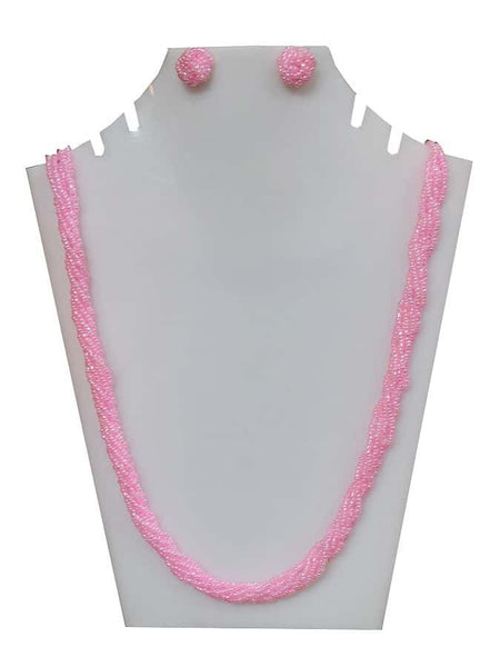 Pink Necklace and Earrings Set - PurpleTulsi.com