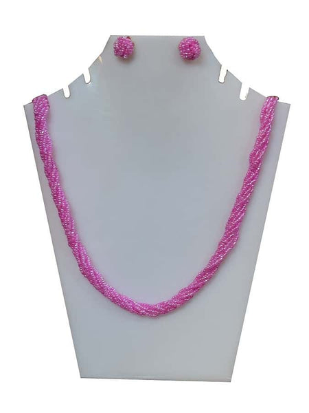 Punch Pink Necklace and Earrings Set - PurpleTulsi.com