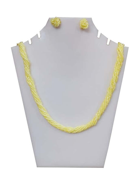 Yellow Necklace and Earrings Set - PurpleTulsi.com