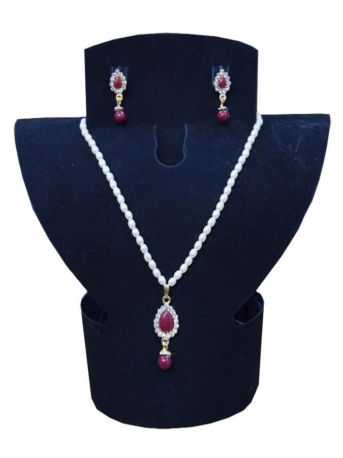 White and Maroon Necklace and Earrings Set - PurpleTulsi.com