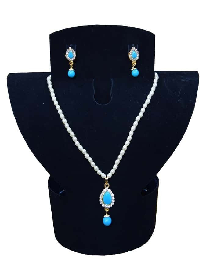 White and Blue Necklace and Earrings Set - PurpleTulsi.com