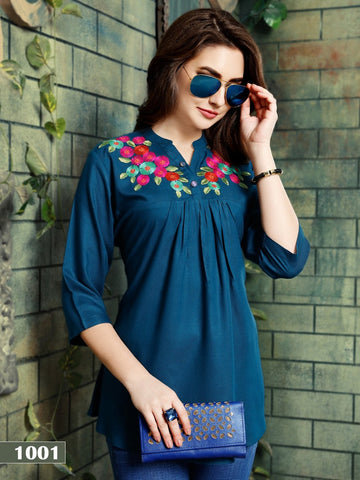 Designer Blue Color Rayon Embroidered Top