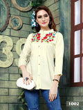 Designer White Color Rayon Embroidered Top