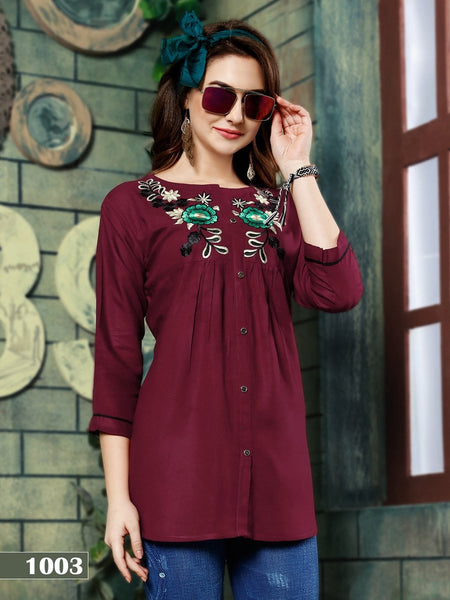 Designer Maroon Color Rayon Embroidered Top